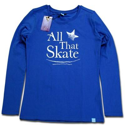 김연아 Yuna Kim 낙원댄스 올댓스케이트 All That Skate 아이스쇼 공식 티셔츠  올댓스포츠 티 여성용 긴팔 블루