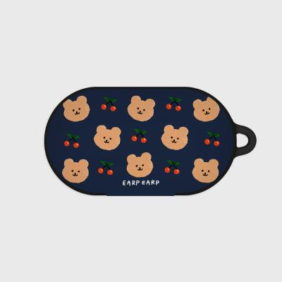 Dot cherry bear-navy(buds hard case)