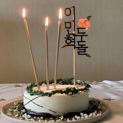 골드 메탈릭 케익 초 24개 Gold Tall Candles