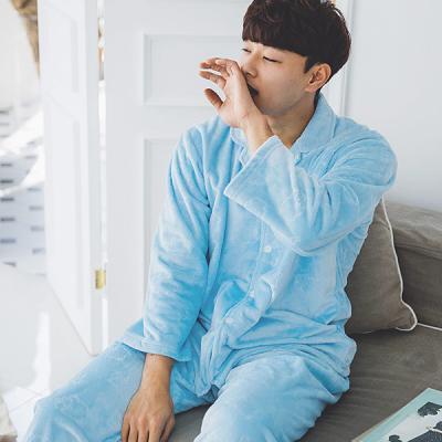 [쿠비카]극세사 양 스템프 밍크 남성잠옷 M040