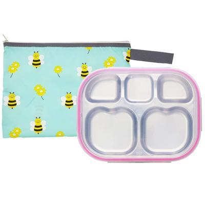 꿀벌대모험 하트형 핑크 유아식판 뚜껑+파우치 포함