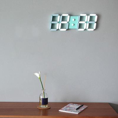국산 자동 LED 빛조절 인테리어 벽시계 SF코팅 민트