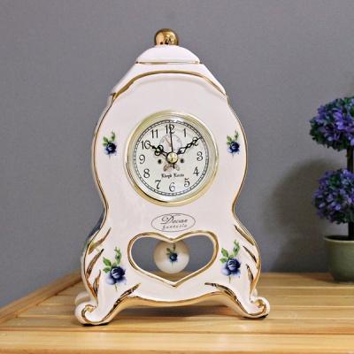 (kgse017)도자기 블루로즈 탁상시계