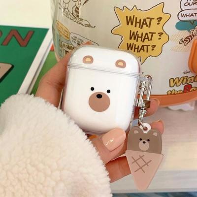 에어팟 1 2 프로 아이스크림 곰돌이 투명 키링 케이스