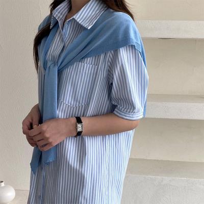 [Set] Stripe Shirts Long Dress + Shawl