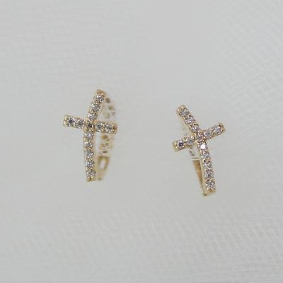 14K십자가 큐빅 원터치 귀걸이