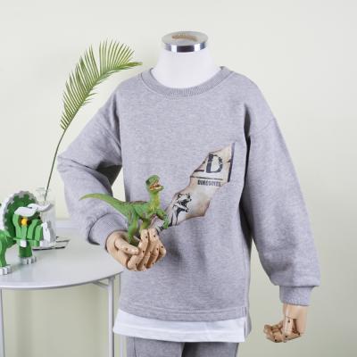 [다이노솔즈] 밑단 배색 레이어드 할큄 포스터 키즈 맨투맨 ME