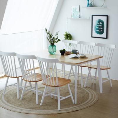 [리비니아]캔버톤 6인용원목식탁세트(의자형)3colors