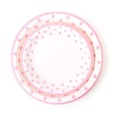 라인도트 파티접시 18cm - 핑크(6입)