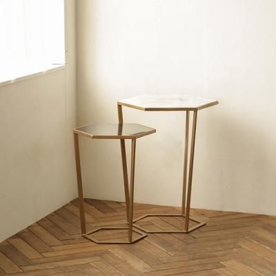 [밀란] 로즈비앙코 헥사 대리석 테이블(M)