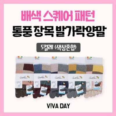 VIVADAY-DW19 로고자수장목5켤레(색상혼합)
