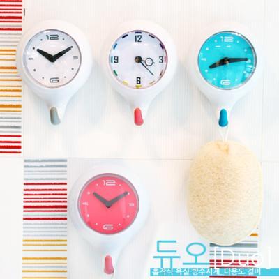 듀오[Duo] 흡착식 욕실 방수시계_다용도 걸이_-멀티컬러 핑크