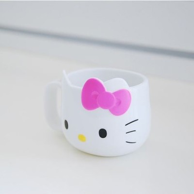 헬로키티 얼굴형손잡이컵(핑크리본)