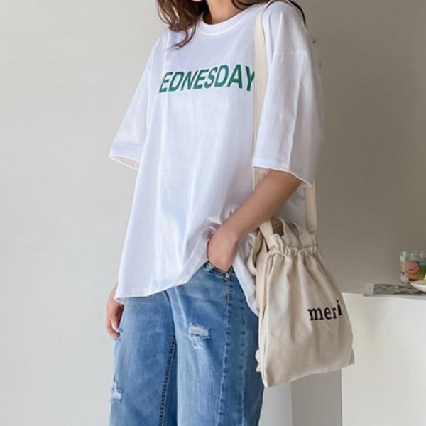 [애슬릿]국내 면100 요일 루즈핏 반팔 티셔츠