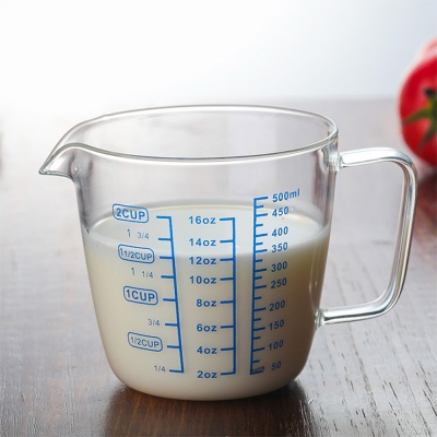 [로하티]유리 계량컵 500ml/ 이유식 눈금컵