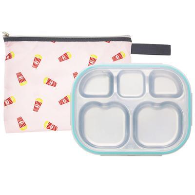 팝핑팝콘 하트형 민트 유아식판 뚜껑+파우치 포함