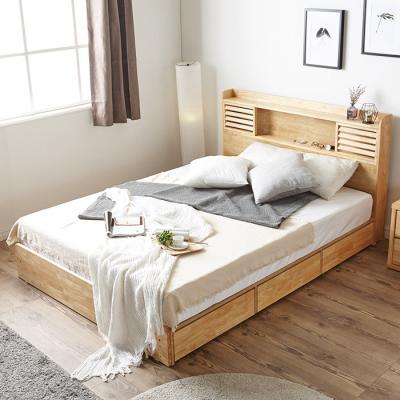 [노하우] 베르 LED 원목 퀸 침대 (매트미포함)