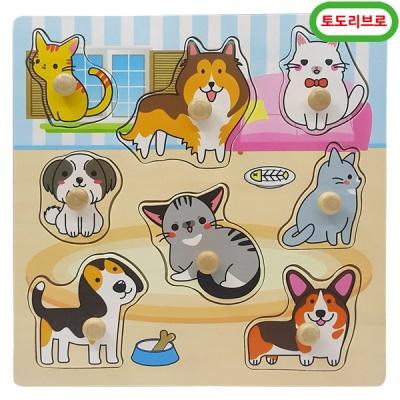 토도리브로 원목애완동물꼭지퍼즐