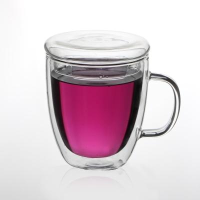 [로하티]바오 뚜껑 유리컵(430ml)/ 이중유리 머그컵
