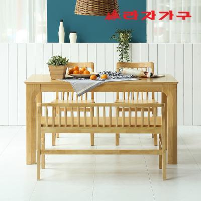미농 고무나무 원목 식탁 세트 4인용 벤치형 B