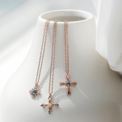 제이로렌 G0195 십자가 청다이아 14K 핑크골드 목걸이