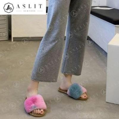 [애슬릿]전체 퍼 발 넓은 여성 실내화 털 슬리퍼