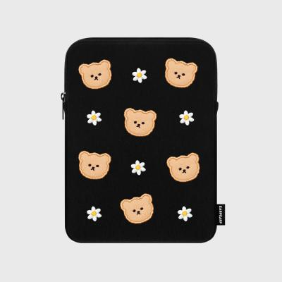 Dot flower bear-black-ipad pouch