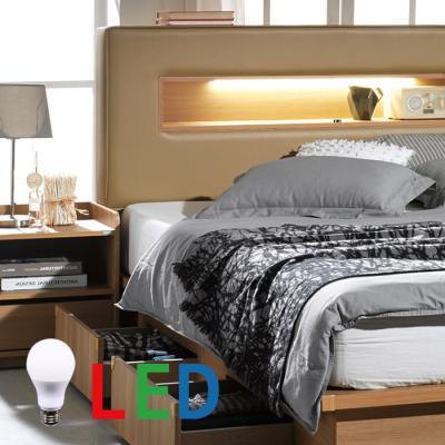 [랜선할인]가죽 서랍형 LED조명 침대 퀸 DW107
