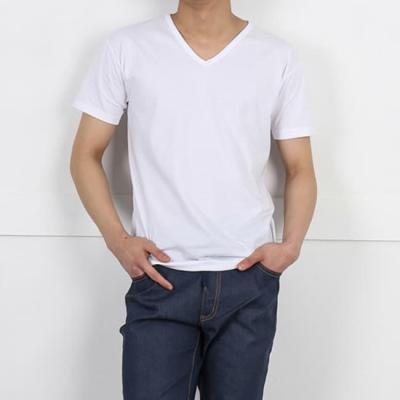 남성 남자 여름 데일리 브이넥 면 반팔 티셔츠 기본