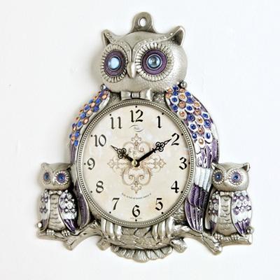 (kspz136)저소음 형제부엉이 시계 주석