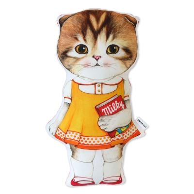 고양이삼촌 쿠션 - 오렌지원피스 마롱