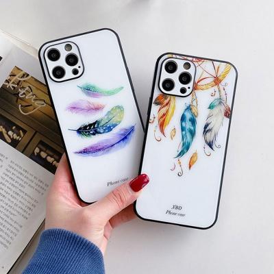 아이폰11 PRO MAX 깃털 유화 강화유리 하드 폰케이스