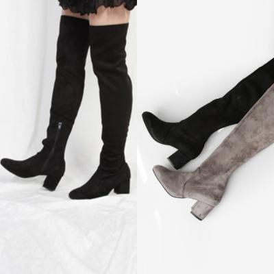 [애슬릿]스퀘어 스웨이드 니 하이 여성 롱 부츠 6cm