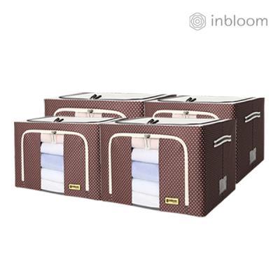 인블룸 4개세트 도트 리빙박스 100L 브라운