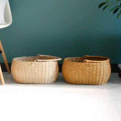 라탄 타원 손잡이 바구니- 2color (수납,피크닉)