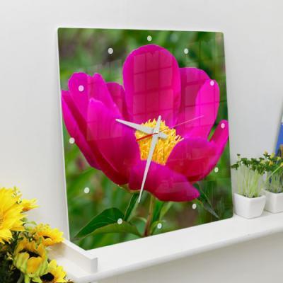 ga026-아크릴시계_풍수붉은빛모란꽃01
