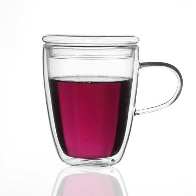 [로하티]바오 뚜껑 유리컵 300ml/ 이중유리 머그컵