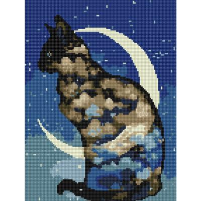 달과 고양이 (캔버스형) 보석십자수 30x40