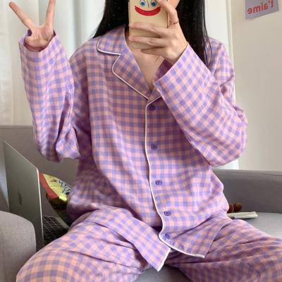 여성 홈웨어 잠옷 세트 파자마 데린스 체크