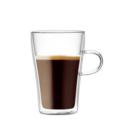 [로하티]프레즈 손잡이 이중유리컵/ 내열 커피 맥주잔