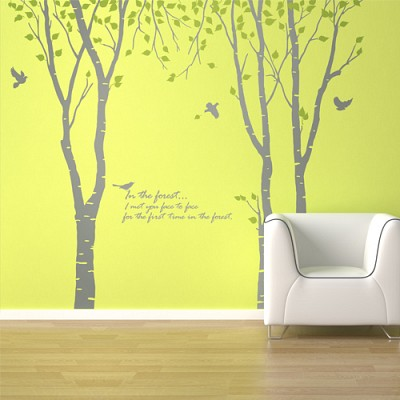숲의노래(자작나무3그루) (반제품B타입) 그래픽스티커 나무 포인트 시트지