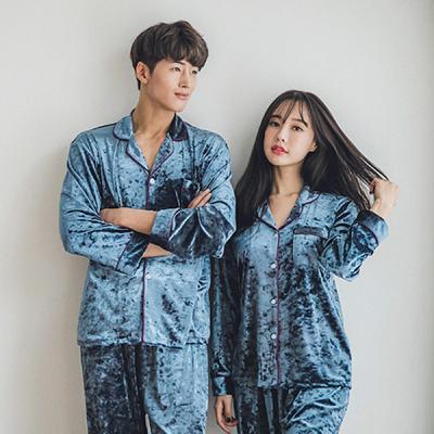 [쿠비카]유연한 벨벳 카라형 투피스 커플잠옷 WM114