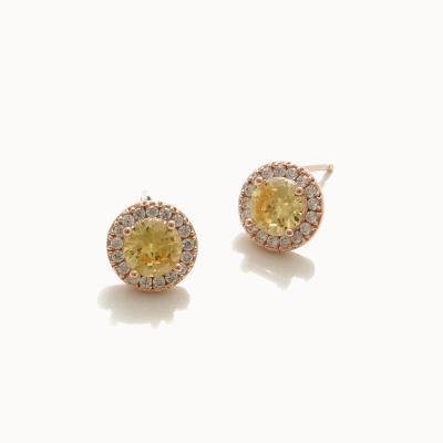 제이로렌 02M02972 레몬 시트린 큐빅 로즈골드 귀걸이