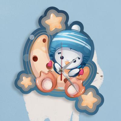 nn575-인테리어벽시계_꿈나라여행(펭귄)