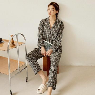 [쿠비카]체크조직 카라넥 순면 투피스 여성잠옷 W793
