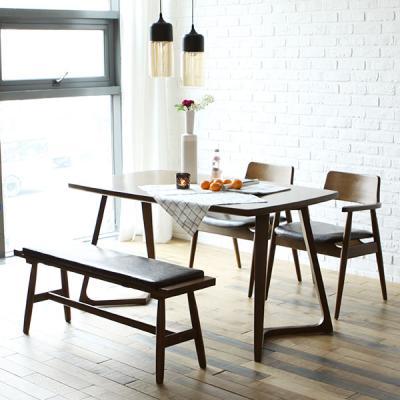 [채우리] 레이 4인 원목 식탁세트(의자/벤치)