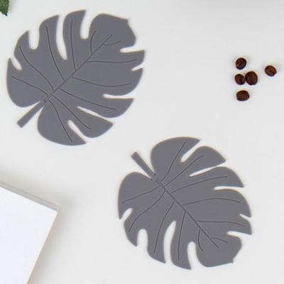 미니멀 그레이 나뭇잎 컵받침 2개1세트