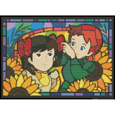 빨강머리앤 해바라기 우정 (패브릭) 보석십자수 38x52