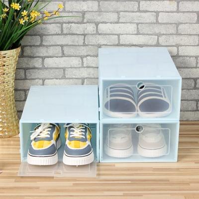 슈박스 신발정리함 3p세트 대 블루 신발수납장