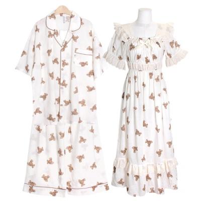 [쿠비카]곰돌이 프린팅 레이온 원피스 커플잠옷 WM339